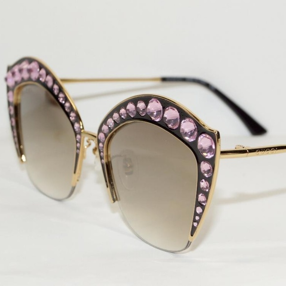 2f3dc84fbda0e Gucci Black Cat Eye Pink Crystal Sunglasses. NWT. Gucci.  690  1